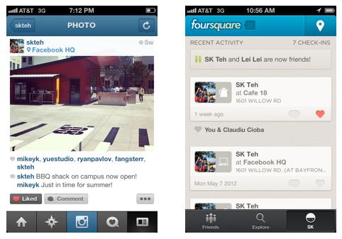 Facebook annonce que les applications mobiles peuvent désormais intégrer le bouton J'aime - Bouton j'aime dans Instagram & Foursquare