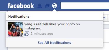 Facebook annonce que les applications mobiles peuvent désormais intégrer le bouton J'aime - Après un clic sur le j'aime d'Instagram, l'action apparaît dans le flux de notifications