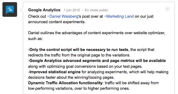 Google Analytics va apporter son Content Experiments