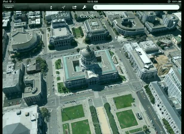 Google Maps Next Dimension ? Fou d'imageries 3D et accessible hors-ligne - Démonstration de la 3D sur Google Maps depuis un iPad