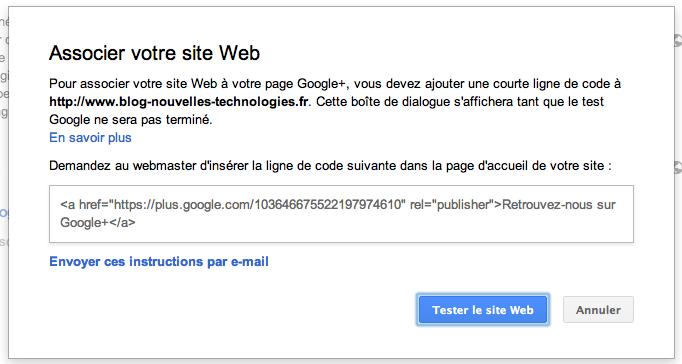 Google simplifie la façon de relier votre site à votre page Google+ - Validation ou non depuis une page Google+