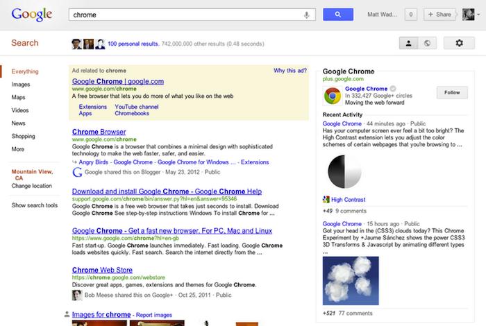 Google simplifie la façon de relier votre site à votre page Google+ - Résultats de recherche dans Knowledge Graph