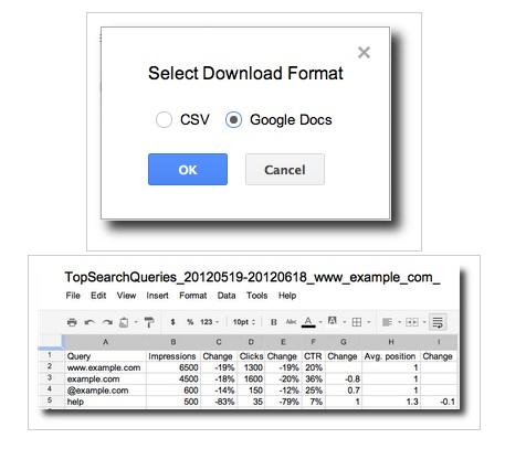Google Webmaster Tools vous permet d'exporter facilement vos données