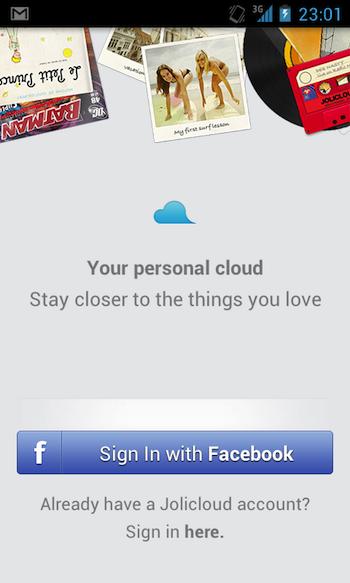 Jolicloud apporte son service de cloud personnel à Android - Accueil de Jolicloud sur Android