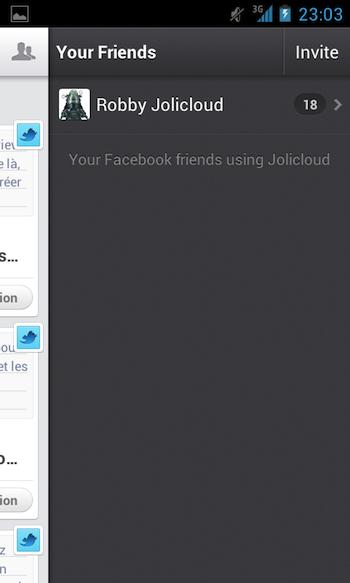 Jolicloud apporte son service de cloud personnel à Android - Liste des amis connectés avec vous