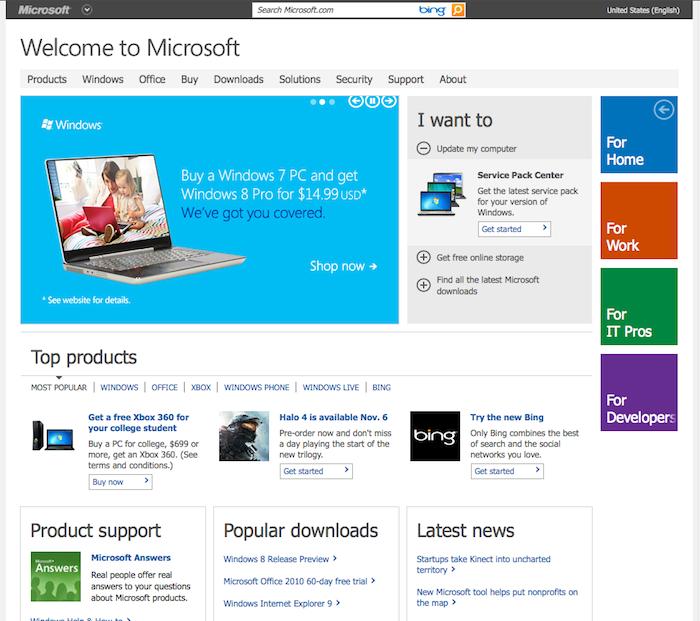 Microsoft se dote d'une nouvelle page d'accueil Preview en responsive webdesign - Site actuel de Microsoft