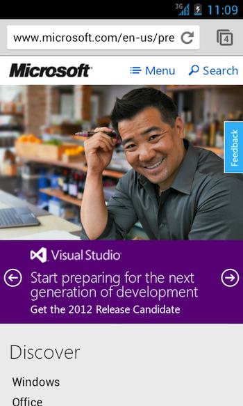 Microsoft se dote d'une nouvelle page d'accueil Preview en responsive webdesign