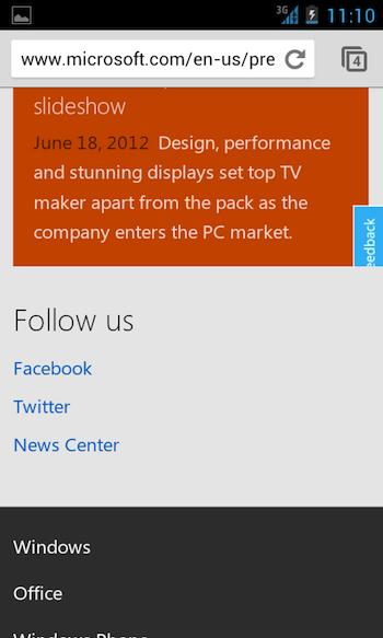 Microsoft se dote d'une nouvelle page d'accueil Preview en responsive webdesigne
