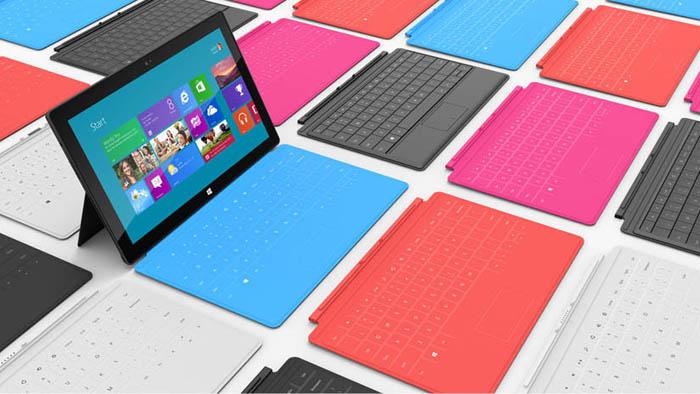Microsoft Surface, une tablette avec une béquille et de multiples couleurs de clavier - Clavier intégré, Touch Cover, lancé avec différents coloris