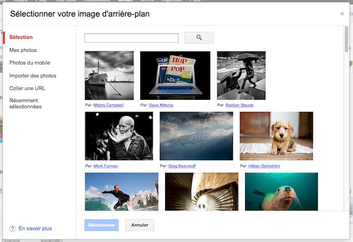 Personnaliser vos thèmes sur Gmail est maintenant une réalité - Sélection de l'image d'arrière plan pour un thème personnalisé