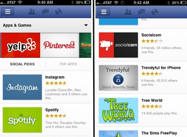 Voici comment le Facebook App Center va ressembler sur iOS - Tri par applications recommandées