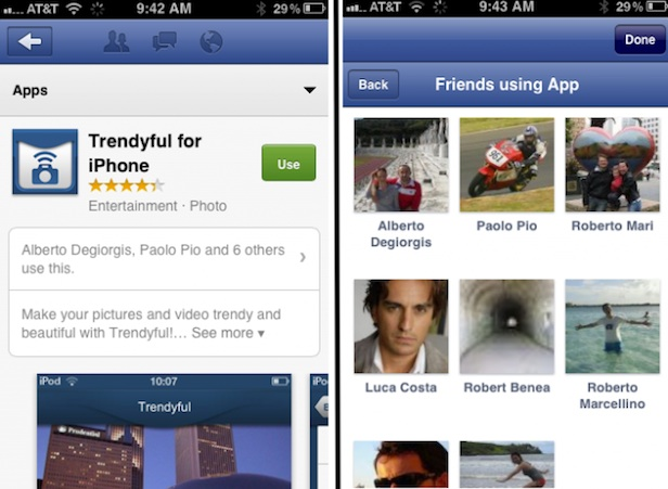 Voici comment le Facebook App Center va ressembler sur iOS - Page d'informations de chaque application