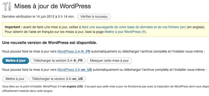 WordPress 3.4 officiellement disponible pour tous et installé sur le blog - Mettre à jour votre version de WordPress