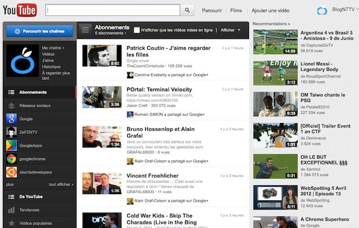 YouTube teste encore une nouvelle page, testez la en avant première ! - Interface de la page d'accueil actuelle de Youtube