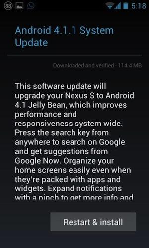 Android Jelly Bean disponible sur le Nexus S