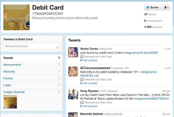 Ce compte Twitter retweet les âmes égarées qui partagent des photos de leurs cartes bancaires