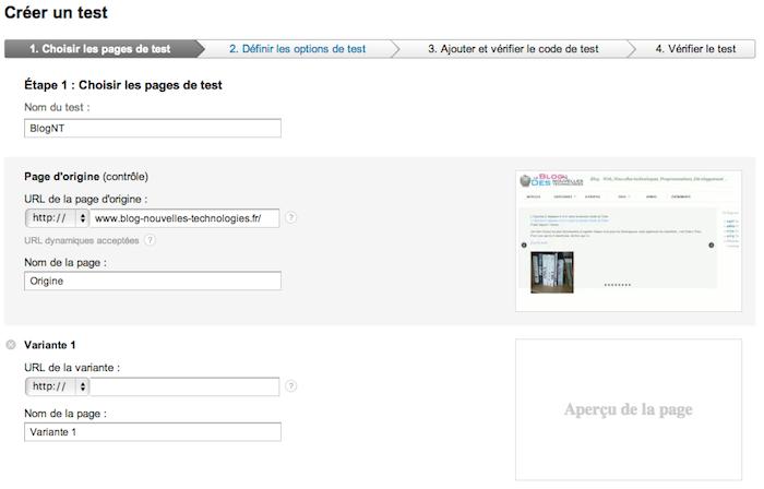 Des modifications apportées aux tests de contenu dans Google Analytics - Création des tests