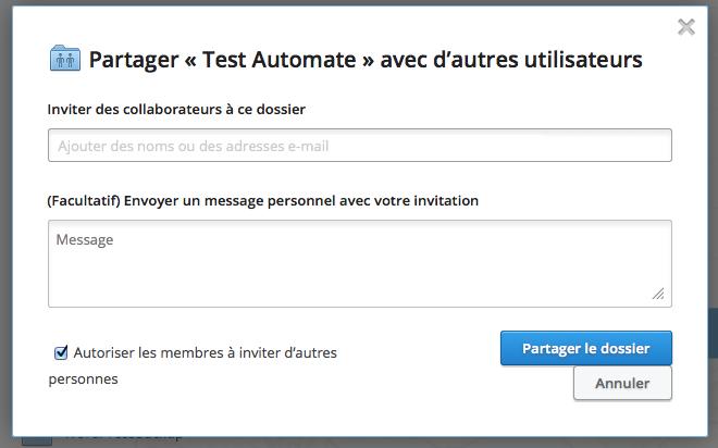 Dropbox vous permet d'autoriser d'autres membres à inviter d'autres personnes sur un dossier partagé