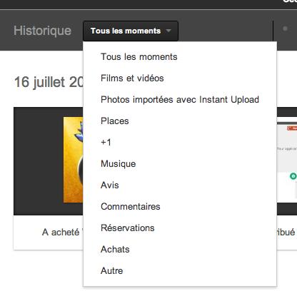 Google+ Historique : La 'Facebook Timeline' accessible actuellement seulement par les développeurs - Filtre sur les moments