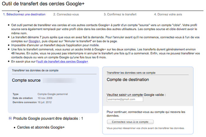 Google publie un outil pour fusionner de multiples comptes Google+ - Page de transfert de compte