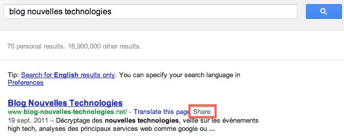 Google remplace le bouton +1 par un lien de partage Google+ dans les résultats de recherche - Intégration du lien de partage dans les résultats