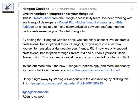 Hangout Captions renforce l'accessibilité lors dans des Hangouts Google+ - Publication de l'annonce du service sur Google+