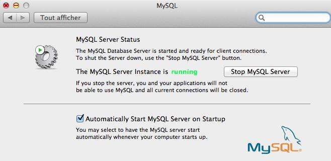 Installer et configurer Apache, MySQL, PHP et phpMyAdmin sur OSX 10.8 Mountain Lion - Démarrage du serveur MySQL depuis les préférences système