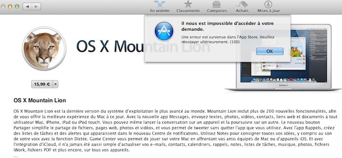 L'erreur 100 de l'App Store provoque un désarrois pour les utilisateurs désirant Mountain Lion