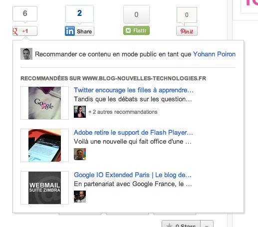 Les pages les plus vues désormais acessibles sur vos boutons +1