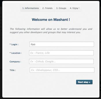 Mashant, le réseau social pour les développeurs ! - Inscription au service