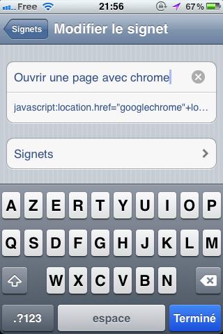 Ouvrir une page dans Chrome pour iOS sans jailbreak - Configuration du titre du signet