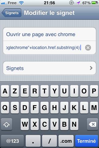 Ouvrir une page dans Chrome pour iOS sans jailbreak - Adresse remplacée par un code JavaScript