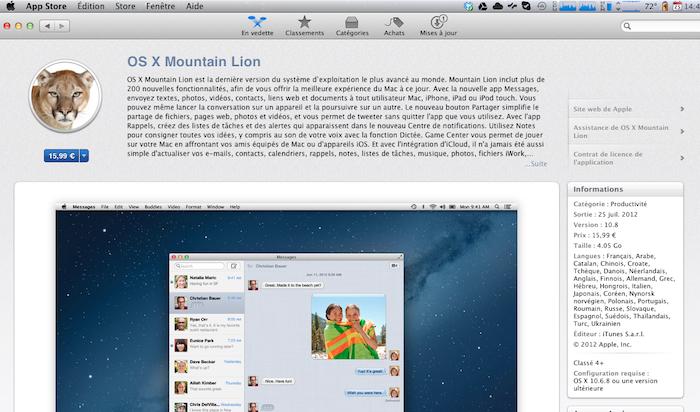 Procurez-vous OS X 10.8 Mountain Lion dès maintenant - Téléchargement de Mountain Lion sur l'App Store