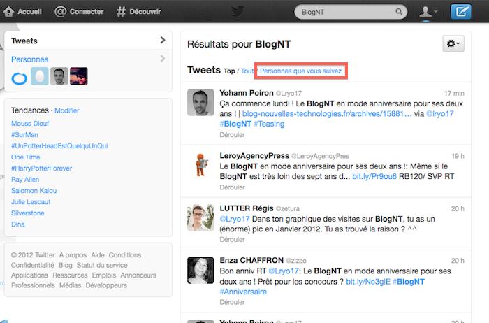 Une nouvelle expérience dans la recherche Twitter a été dévoilée : autocomplétion, suggestions, ... - Filtre de la recherche sur les personnes que vous suivez