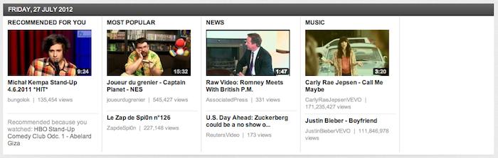 YouTube teste encore une autre interface page d'accueil nommée carrousel - Catégories majeures dans le carrousel
