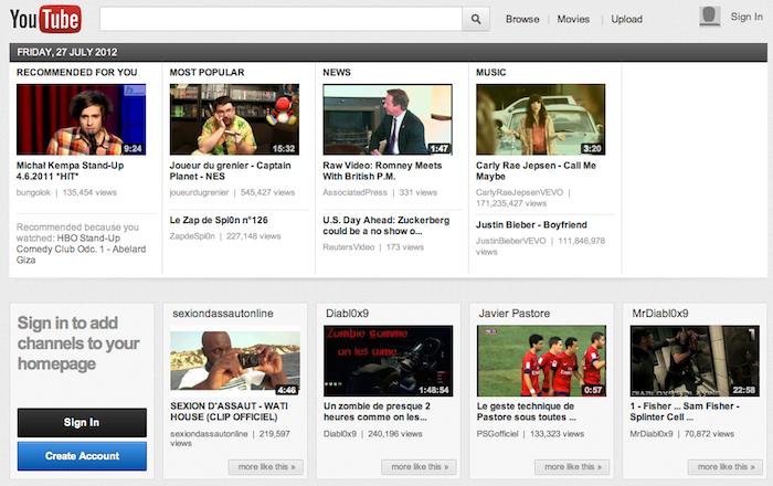 YouTube teste encore une autre interface page d'accueil nommée carrousel - Carrousel Youtube