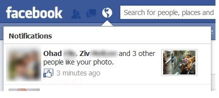 Facebook ajoute des miniatures dans les notifications - Miniature d'une notification