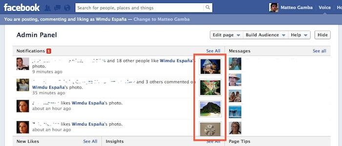 Facebook ajoute des miniatures dans les notifications - Miniatures dans les pages