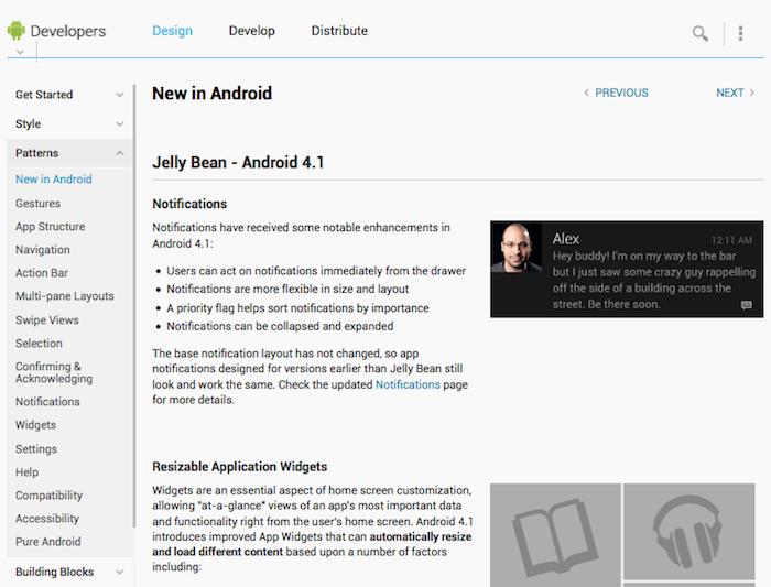 Le site Android Developers est mis à jour avec les caractéristiques de Jelly Bean