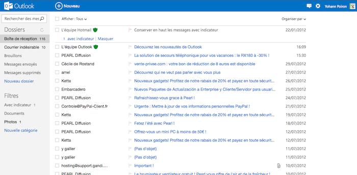 - Outlook.com : voici à quoi ressemble le nouveau Hotmail de Microsoft - Vue de la boîte de réception