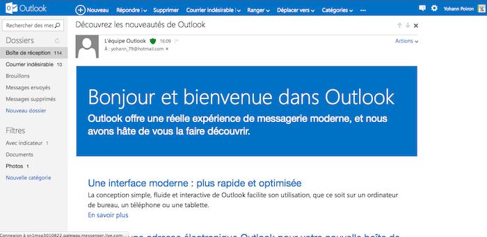 - Outlook.com : voici à quoi ressemble le nouveau Hotmail de Microsoft - Vue d'un e-mail