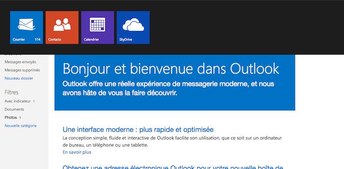 - Outlook.com : voici à quoi ressemble le nouveau Hotmail de Microsoft - Menu d'Outlook.com