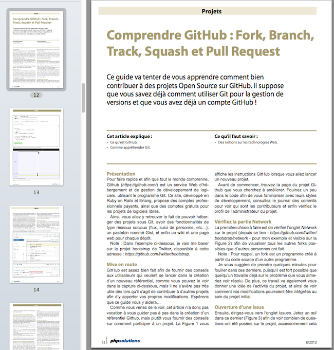 PHP Solutions - Août 2012 - CodeIgniter 2 - Comprendre GitHub : Fork, Branch,Track, Squash et Pull Request