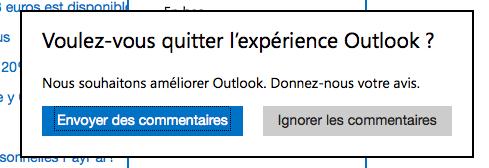 Revenir à l'ancienne interface Hotmail après le passage à Outlook.com - Boîte de dialogue d'envoi des commentaires