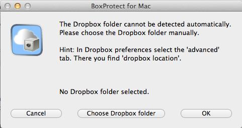 Crypter votre dossier Dropbox sur votre Mac avec BoxProtect - BoxProtect détectera automatiquement votre dossier Dropbox au démarrage