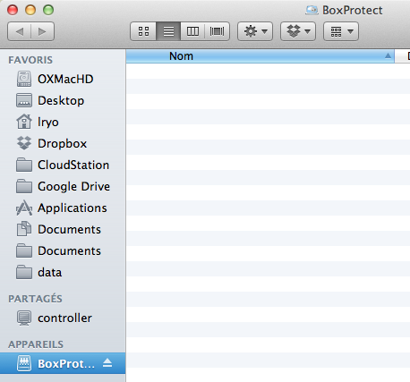 Crypter votre dossier Dropbox sur votre Mac avec BoxProtect - BoxProtect s'affiche comme un dispositif monté dans le Finder de Mac