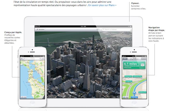 Google Maps entraperçu sur un iPhone avec iOS 6