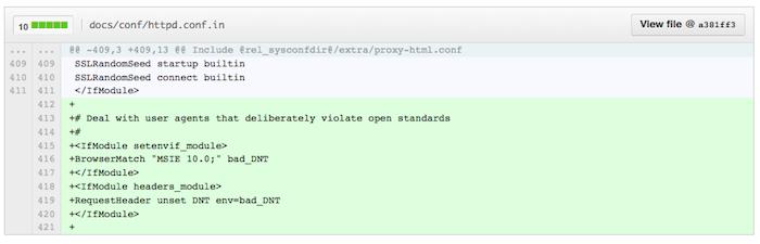Le serveur Web se met à jour pour tenir compte du paramètre Do Not Track d'IE10