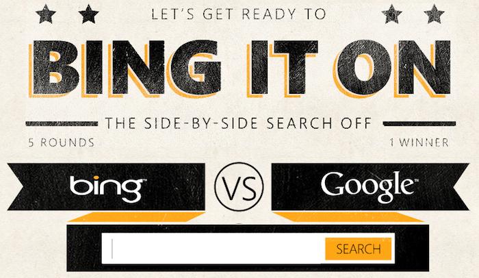 Selon Bing, la plupart des gens préfèrent Bing à Google et propose un Bing It On - Bing It On