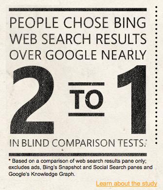 Selon Bing, la plupart des gens préfèrent Bing à Google et propose un Bing It On - Deux personnes contre une préfèrent les résultats de Bing par rapport à Google